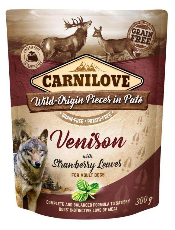 CARNILOVE DOG POUCH KARMA DLA PSA z jeleniem i liśćmi truskawki