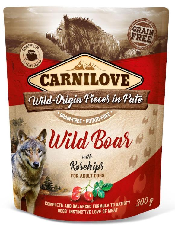 CARNILOVE DOG POUCH KARMA DLA PSA z dzikiem i owocami dzikiej róży