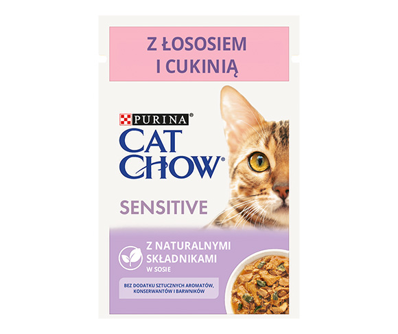 CAT CHOW SENSITIVE MOKRA KARMA DLA KOTA z łososiem i cukinią