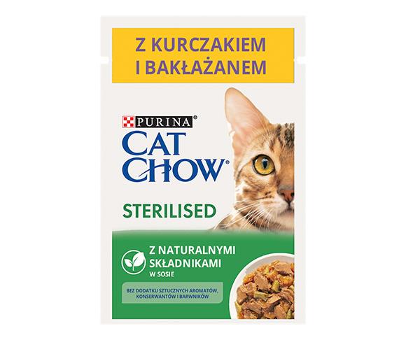 CAT CHOW STERILISED MOKRA KARMA DLA KOTA z kurczakiem i bakłażanem w sosie