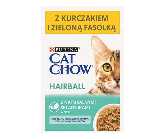 CAT CHOW HAIRBALL CONTROL MOKRA KARMA DLA KOTA z kurczakiem i zieloną fasolką w sosie
