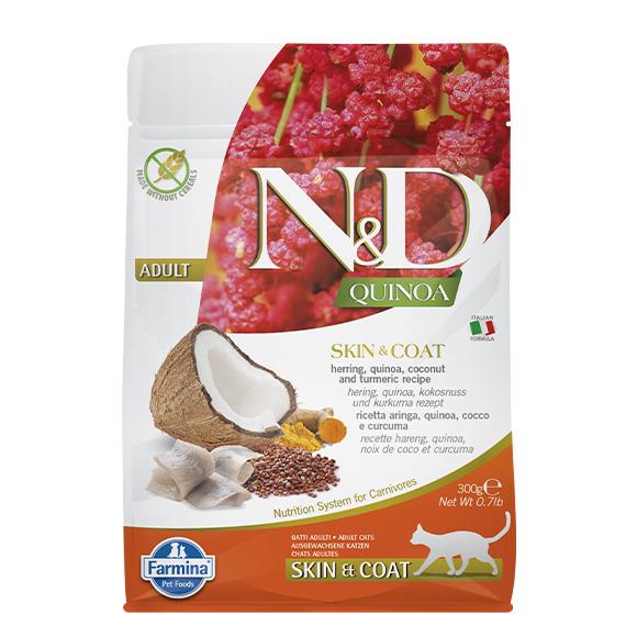 FARMINA ND QUINOA SKIN/COAT KARMA DLA KOTA śledź z komosą, kokosą i kurkumą