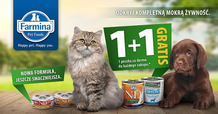 Karmy Farmina dla psów i kotów w promocji 1+1 GRATIS!