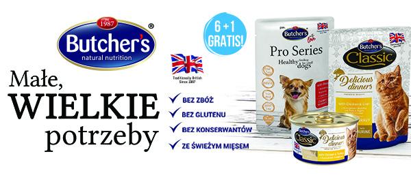 Mokre karmy Butchers dla psów i kotów 6+1gratis