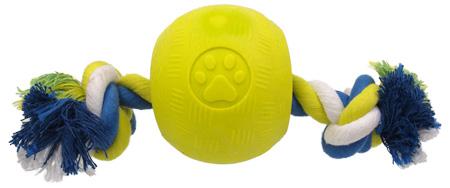strong pilka gumowa ze sznurem dla psa